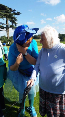 Joan with another of the charity walkers at Attingham Park